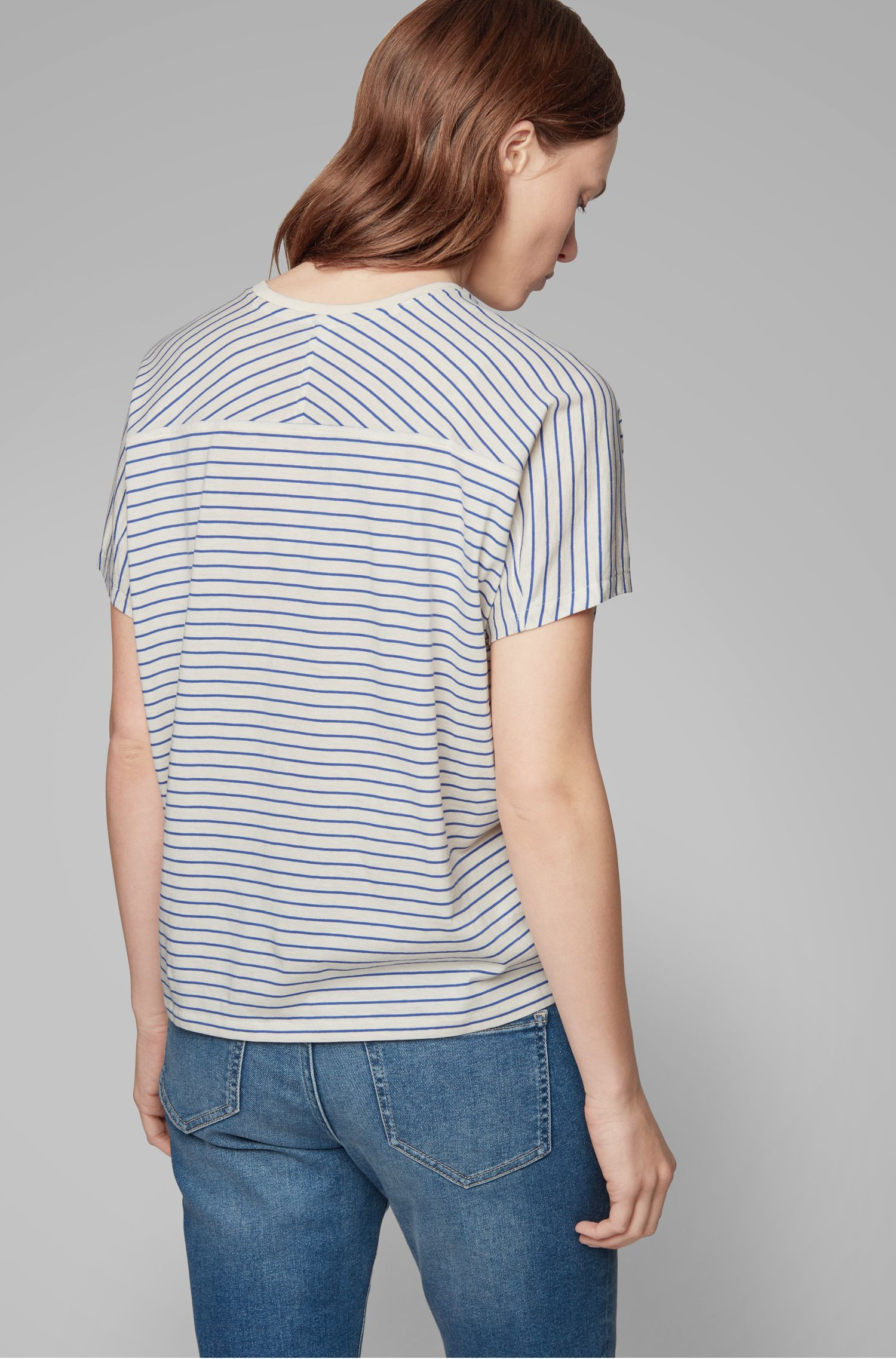 Camiseta extragrande a rayas en mezcla de algodón, Natural