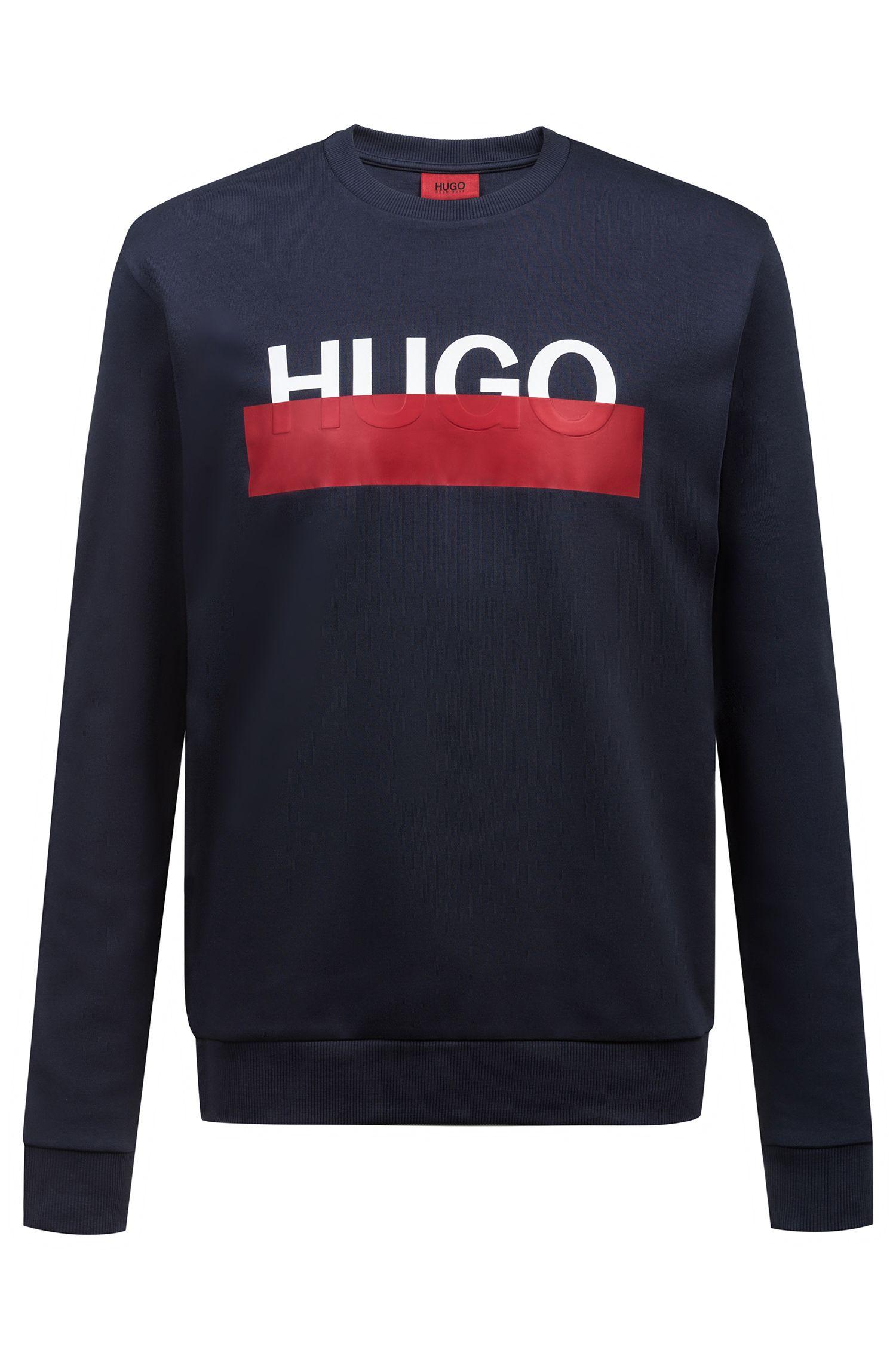 Hugo Boss - Interlock-cotton sweatshirt with partially concealed logo - 1