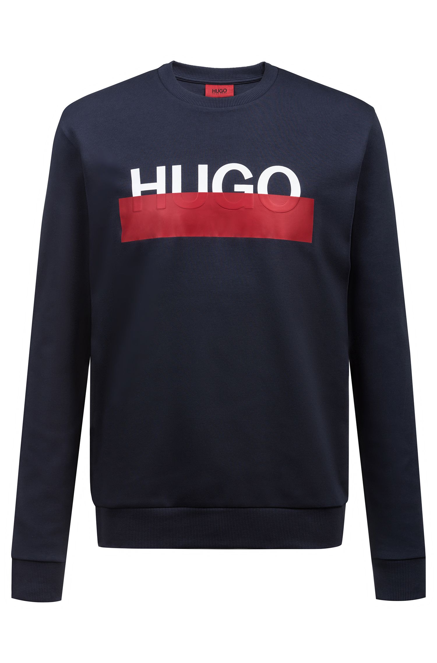 Interlock-cotton sweatshirt with partially concealed logo, Dark Blue