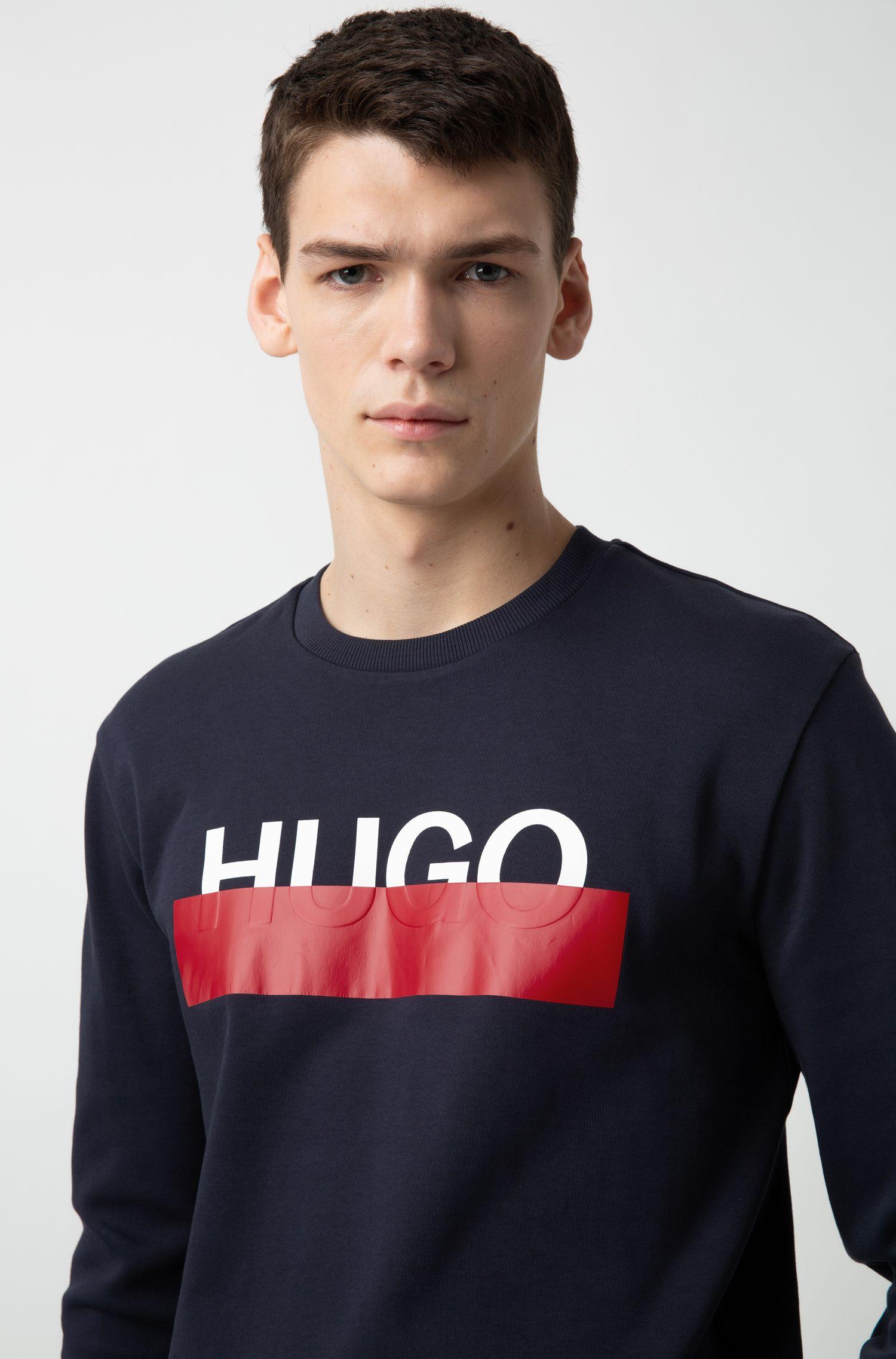Hugo Boss - Interlock-cotton sweatshirt with partially concealed logo - 3