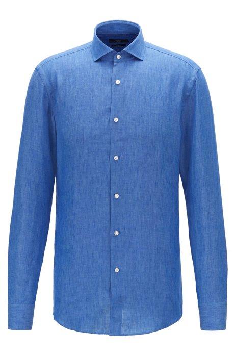Camicia slim fit in lino prodotto in Italia, Blu