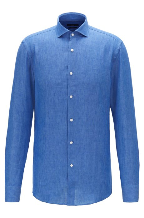 Camisa slim fit en lino italiano, Azul