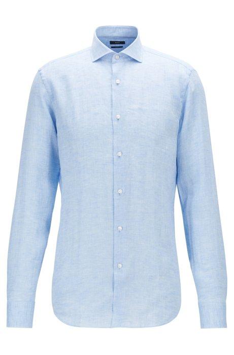 Camisa slim fit en lino italiano, Celeste