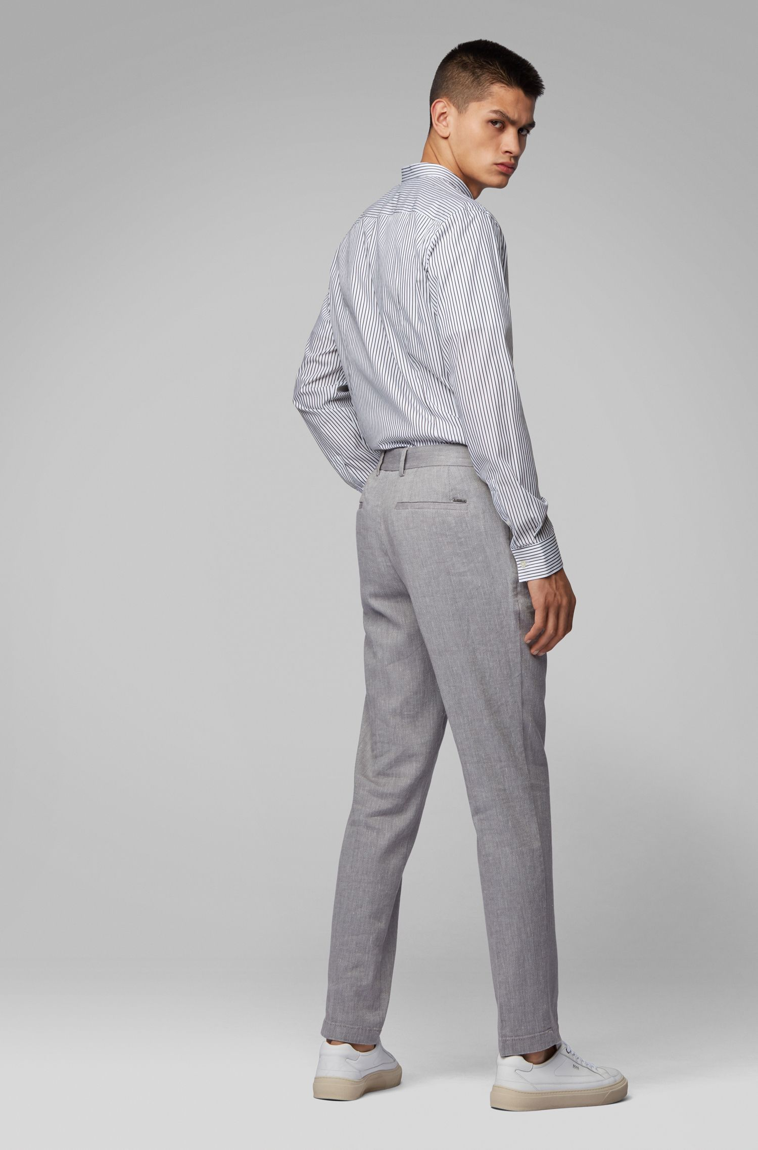 Tapered-leg chinos in a two-tone cotton blend, Silver