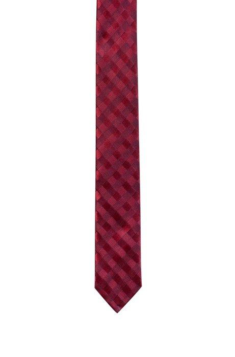 Geruite stropdas in een jacquard van zijde, Bedrukt