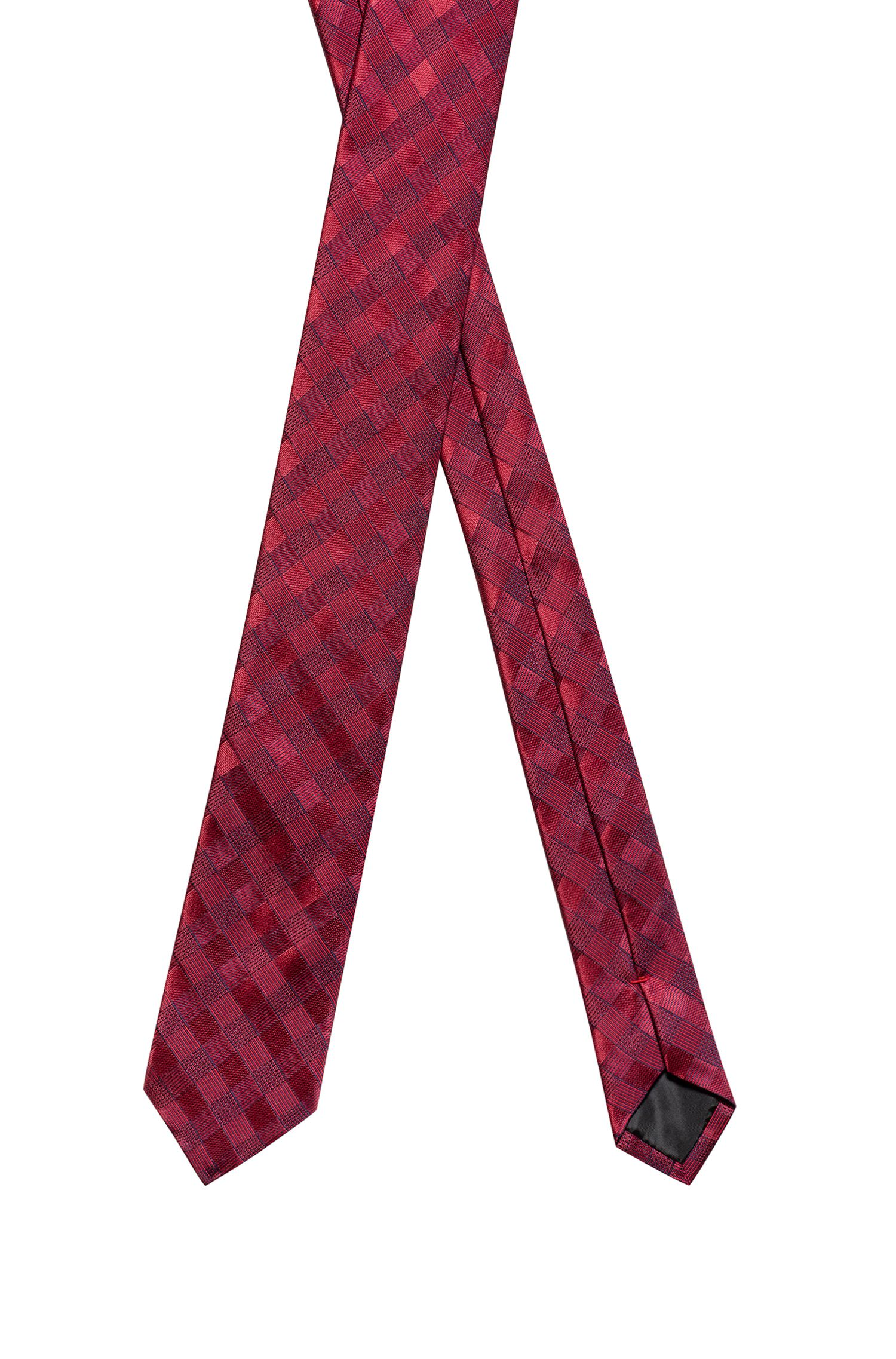 Checked tie in silk jacquard, Patterned