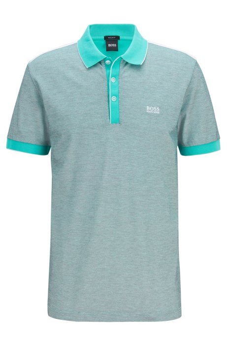 Regular-fit polo shirt in cotton jacquard, Light Green