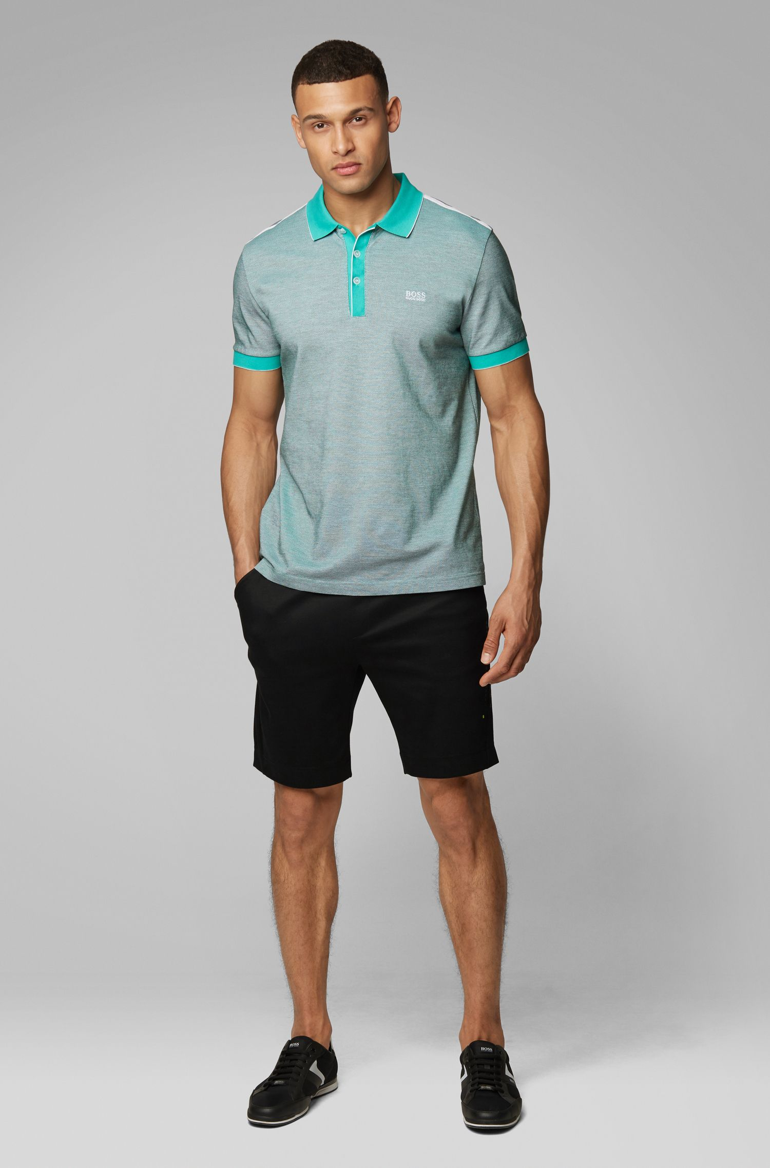 Poloshirt aus Baumwoll-Jacquard, Hellgrün