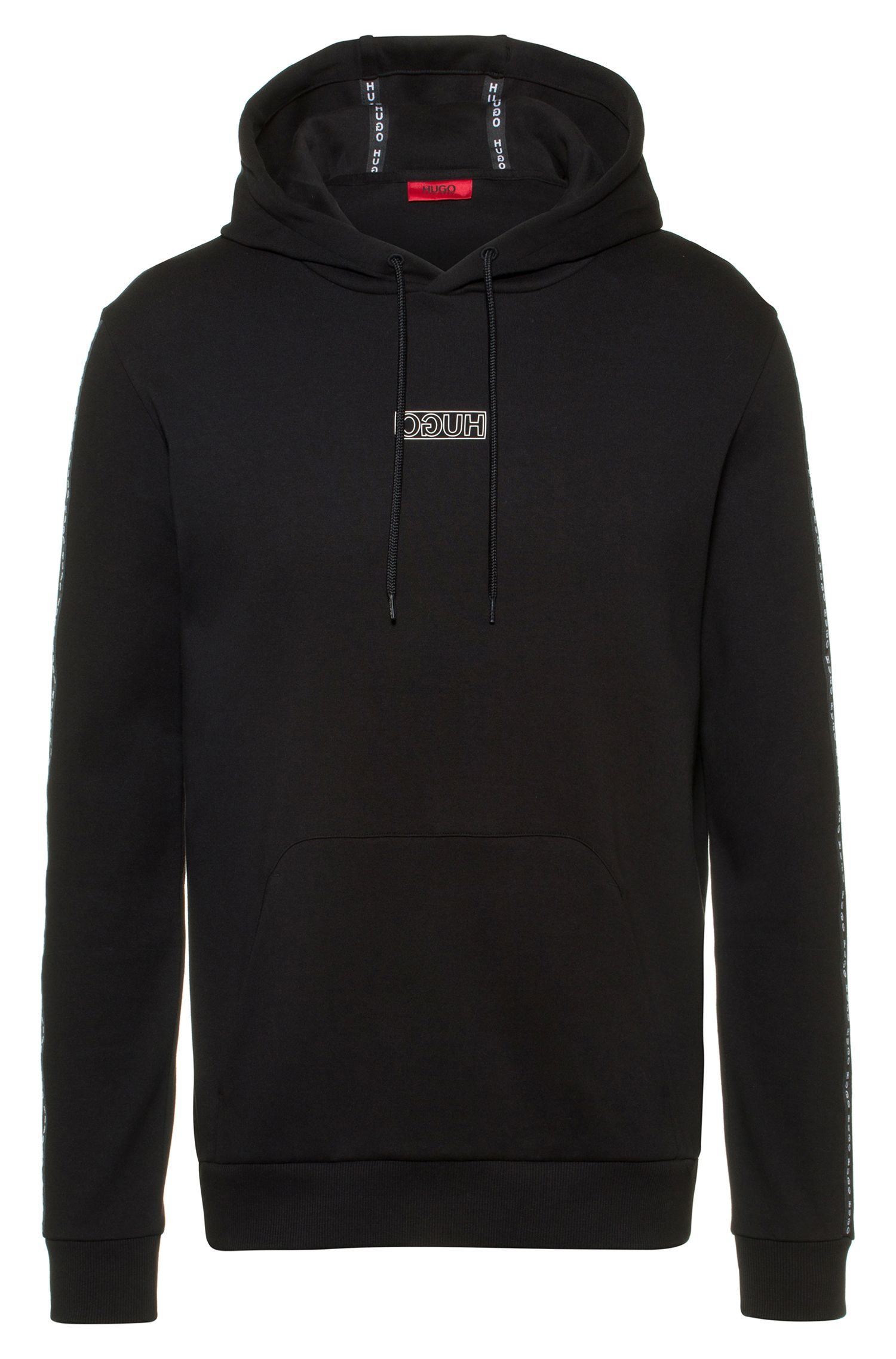 Sudadera con capucha en algodón interlock con cinta con el logo en las mangas, Negro