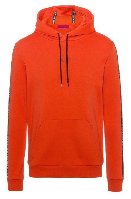 Hooded sweatshirt in interlock cotton with logo-tape sleeves, Dark Orange