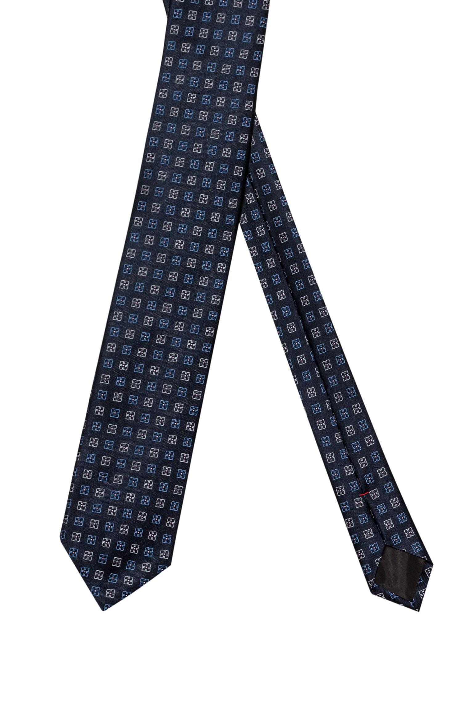 Krawatte aus Seiden-Jacquard mit geometrischem Blumenmuster, Gemustert