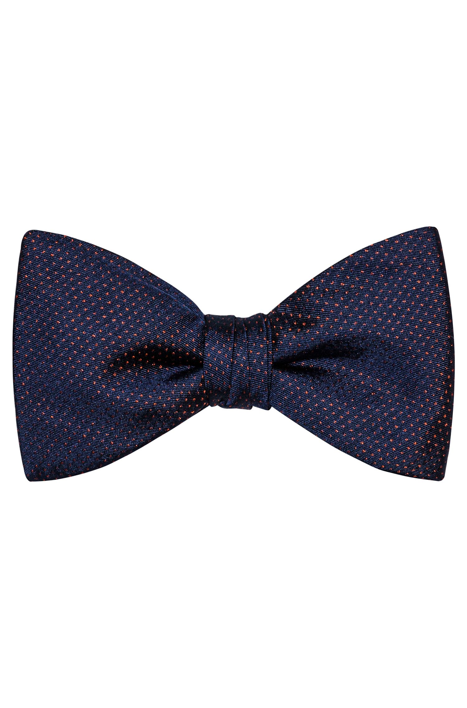 Silk-jacquard bow tie with contrast micro pattern, Patterned