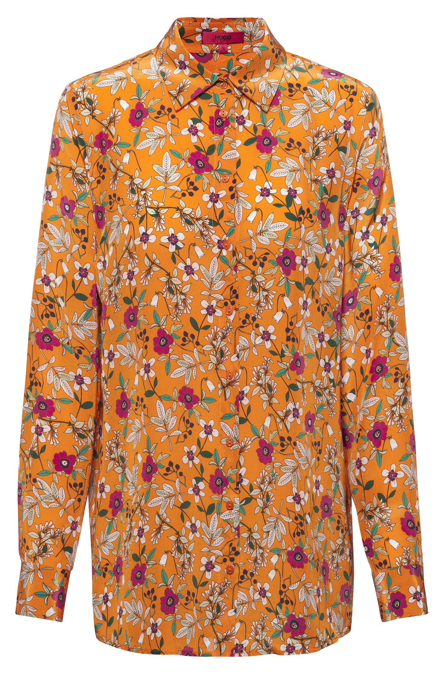 Regular-fit blouse met bloemenprint en puntkraag, Bedrukt