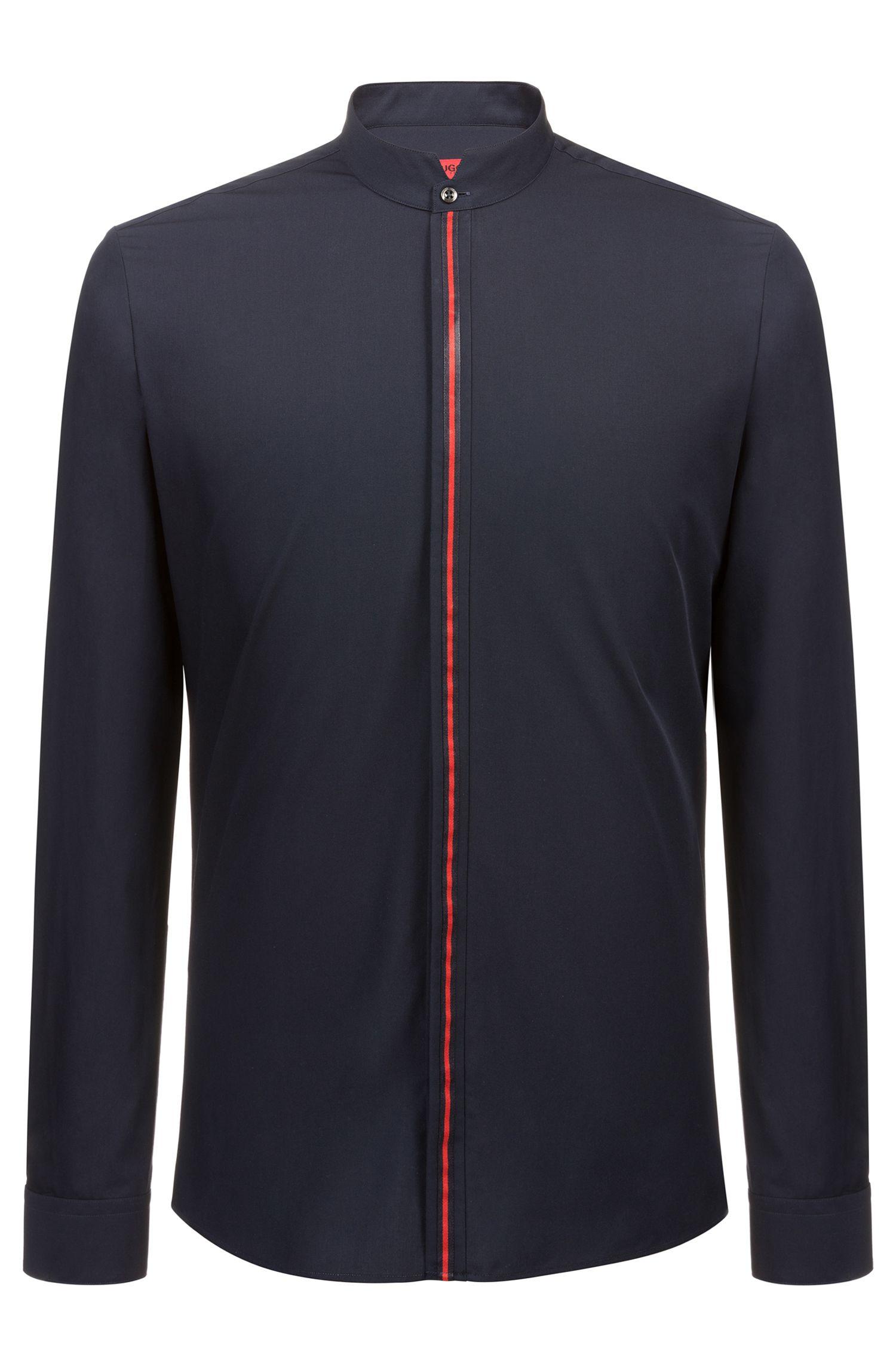 Chemise Extra Slim Fit en coton avec patte de boutonnage rayée, Bleu foncé