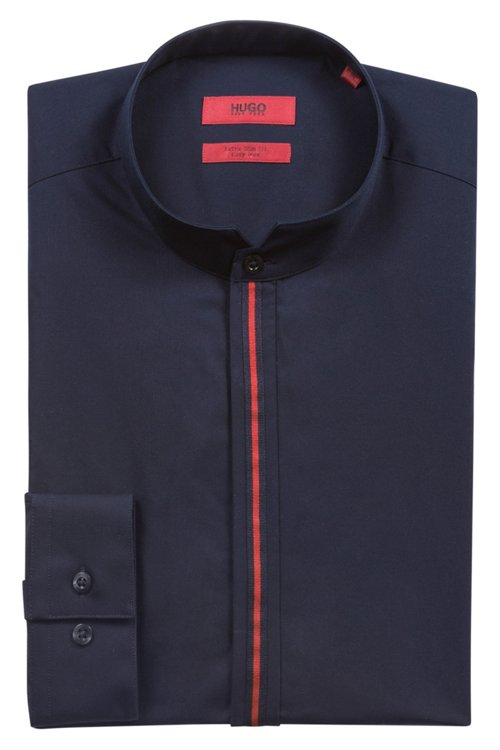 Hugo Boss - Extra Slim-Fit Hemd aus Baumwolle mit Streifen an der Knopfleiste - 5