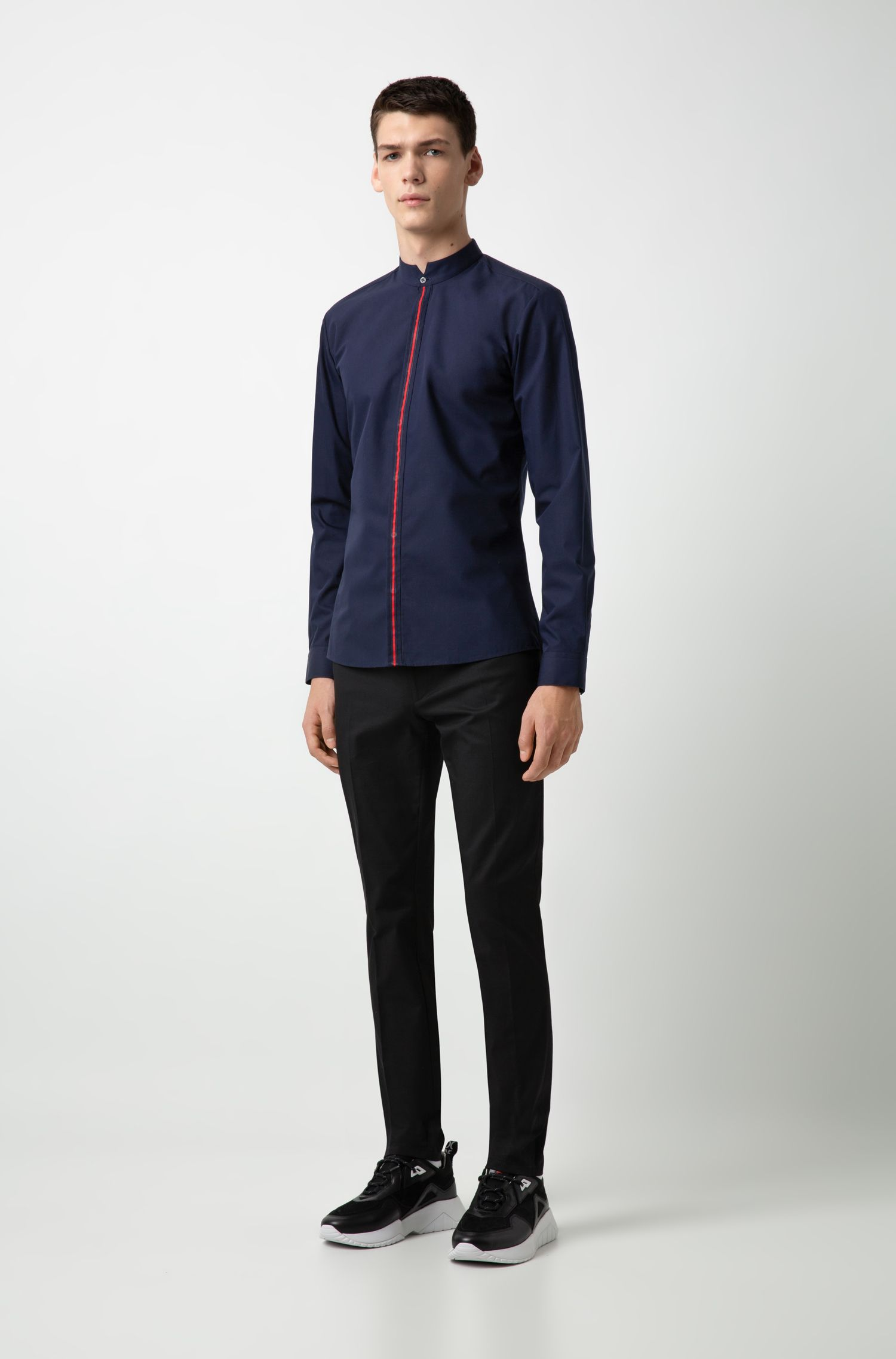 Extra-slim-fit cotton shirt with striped placket, Dark Blue
