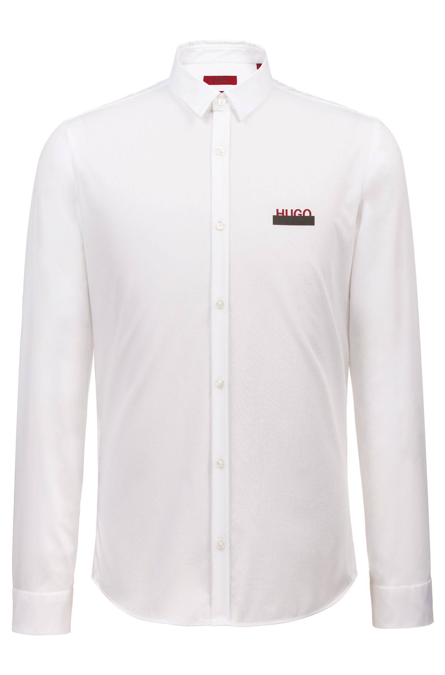 Camicia extra slim fit in cotone con logo parzialmente nascosto, Bianco