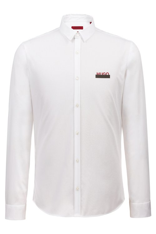 Hugo Boss - Extra-slim-fit cotton shirt with partially concealed logos - 1
