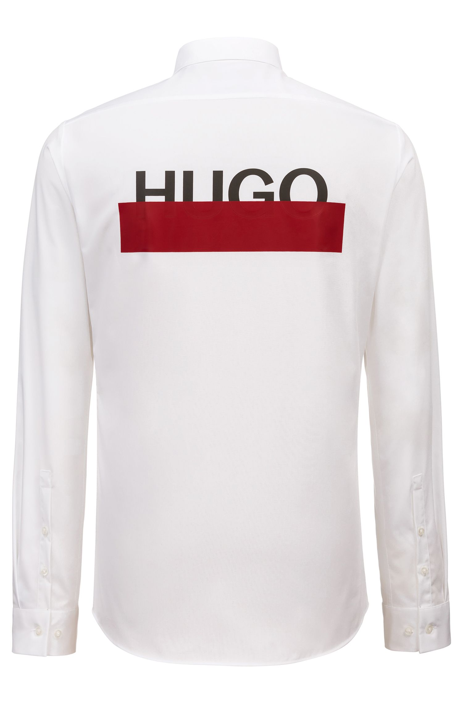 Extra Slim-Fit Hemd aus Baumwolle mit teilweise verdeckten Logos, Weiß