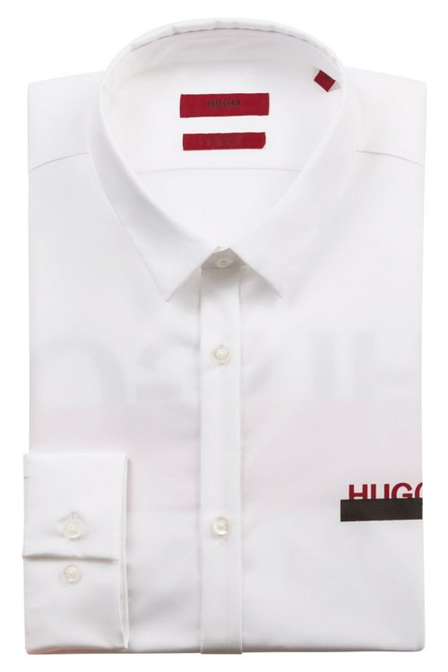 Hugo Boss - Extra-slim-fit cotton shirt with partially concealed logos - 5