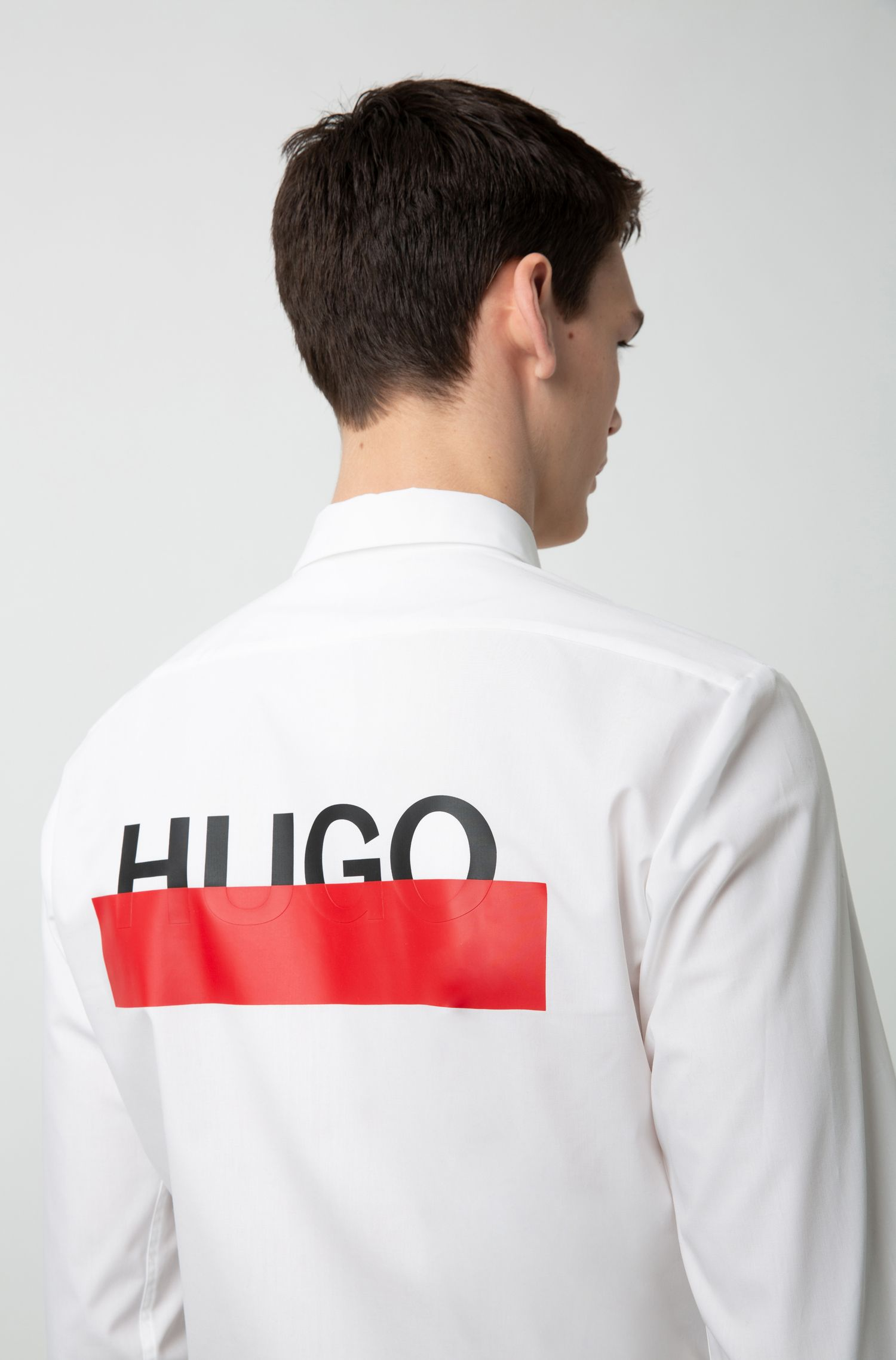 Hugo Boss - Extra-slim-fit cotton shirt with partially concealed logos - 2