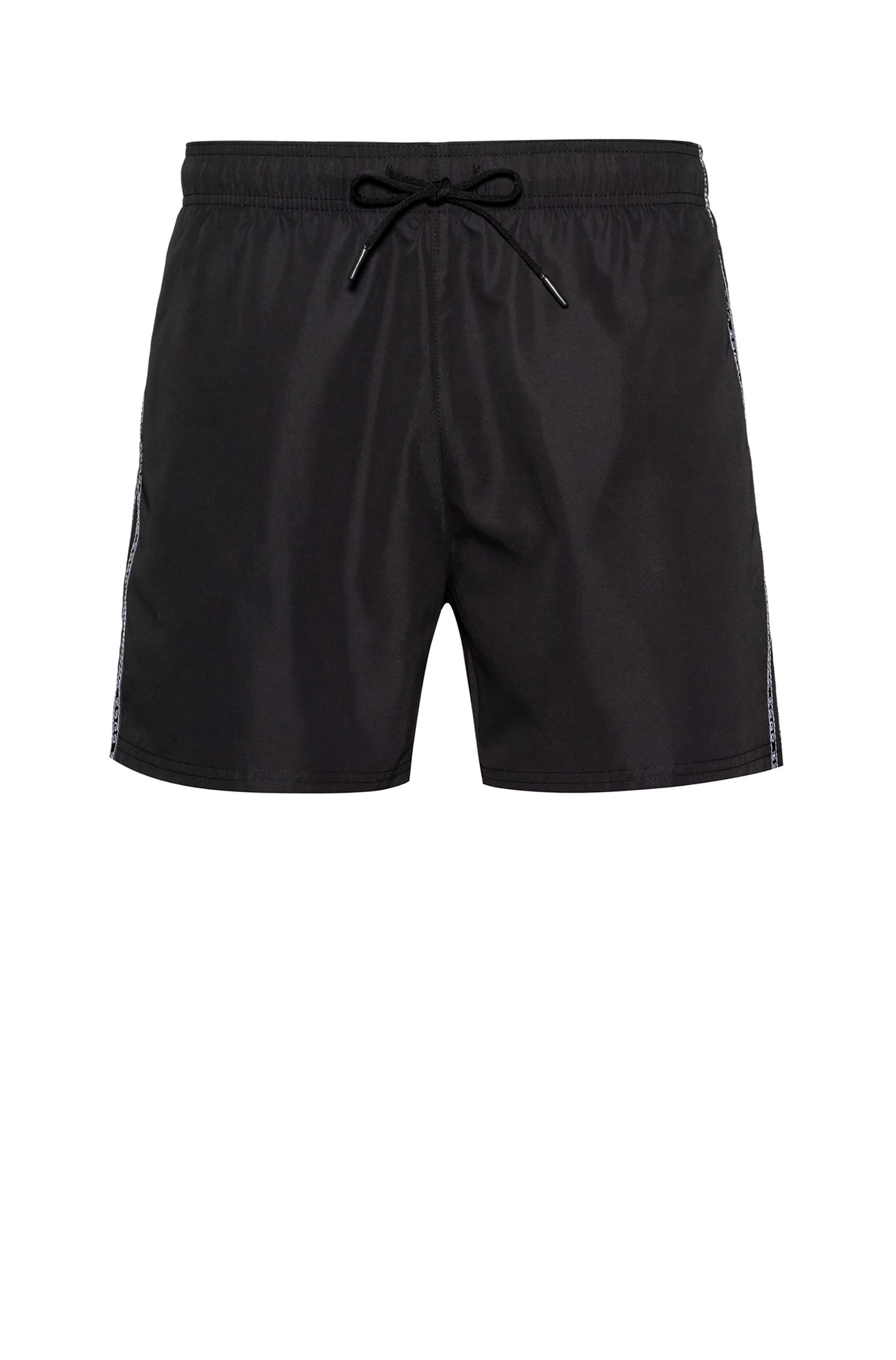 Sneldrogende zwemshort met gespiegelde logobies, Zwart