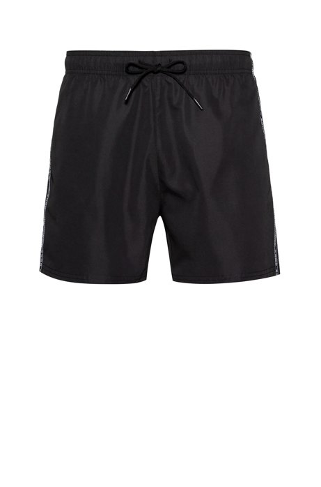 Quick-drying swim shorts with reversed-logo tape, Black
