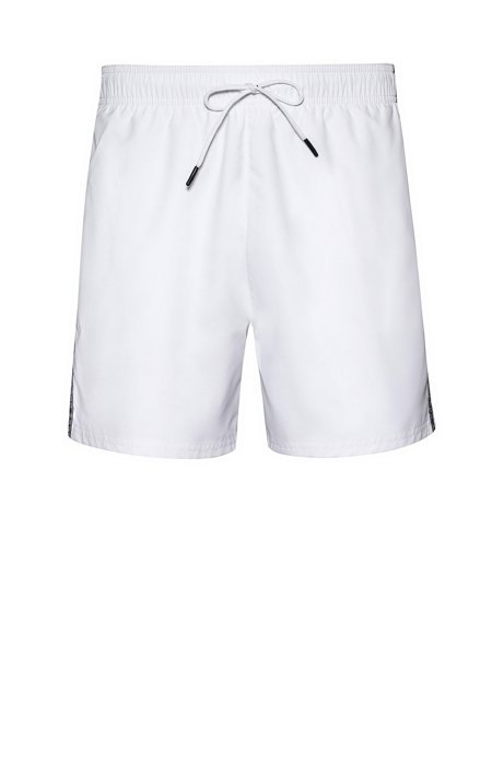 Quick-drying swim shorts with reversed-logo tape, White