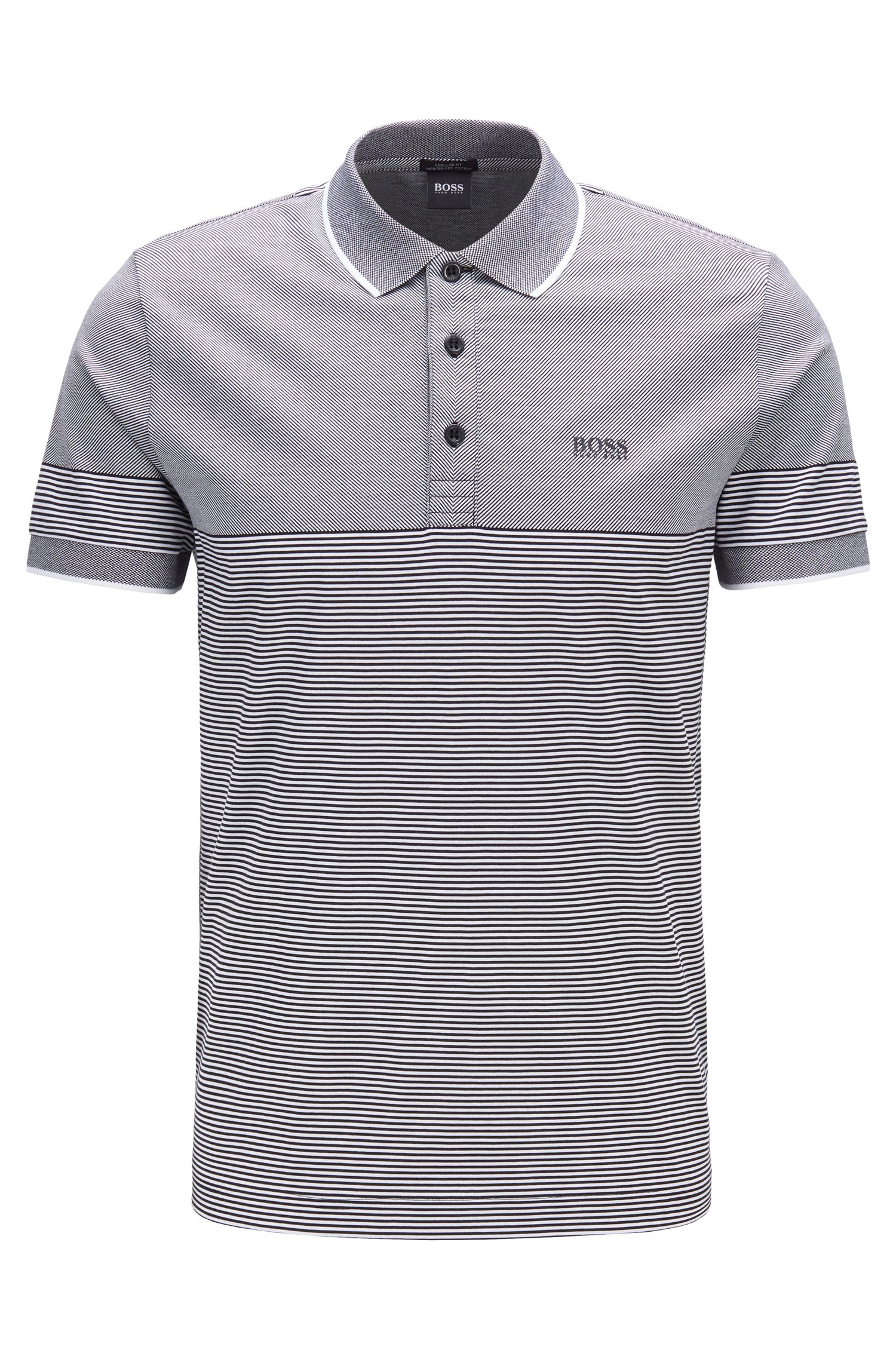 Polo Regular Fit à mini rayures jacquard, Noir