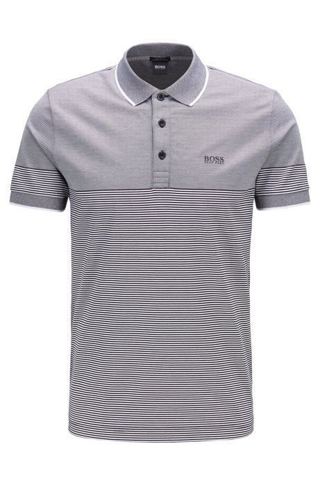 Regular-fit polo shirt with jacquard mini stripe, Grey