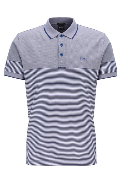 Regular-fit polo shirt with jacquard mini stripe, Dark Blue
