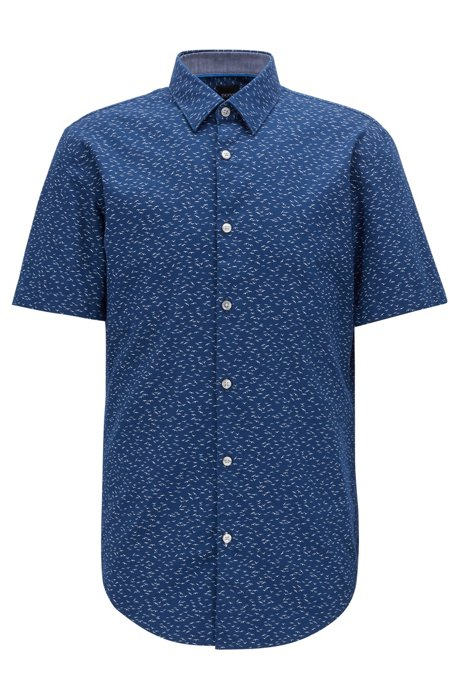Slim-fit short-sleeved shirt with exclusive bird print, Dark Blue