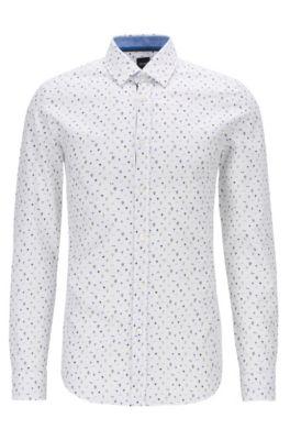 Regular-Fit Hemd aus strukturierter Baumwolle mit Kaktus-Print, Blau