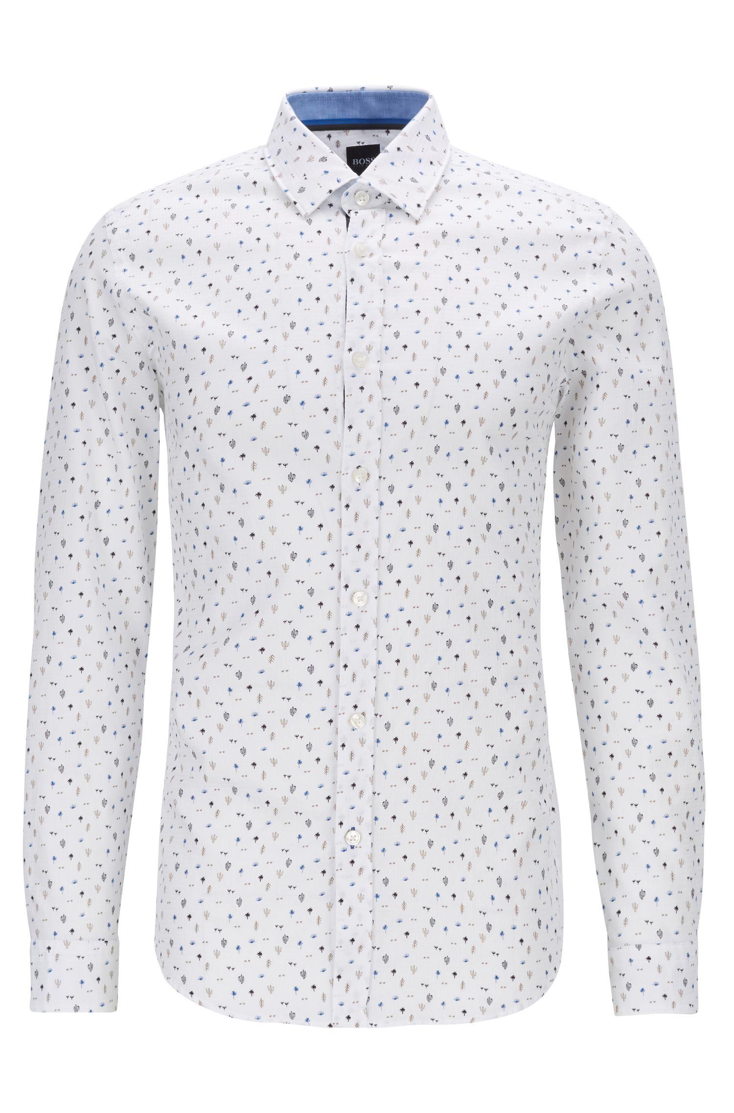 Camisa regular fit en algodón de tejido dobby con estampado de cactus, Azul