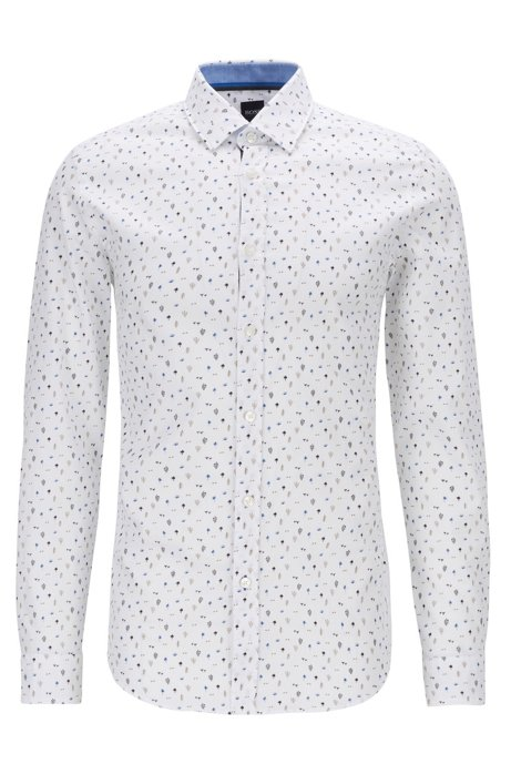 Regular-fit shirt in dobby cotton with cactus print, Blue