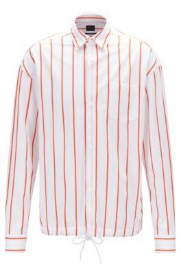 Relaxed-fit overhemd van gestreepte katoen met zoom met tunnelkoord, Oranje