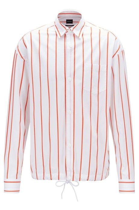 Relaxed-Fit Overshirt aus gestreifter Baumwolle mit Tunnelzug am Saum, Orange