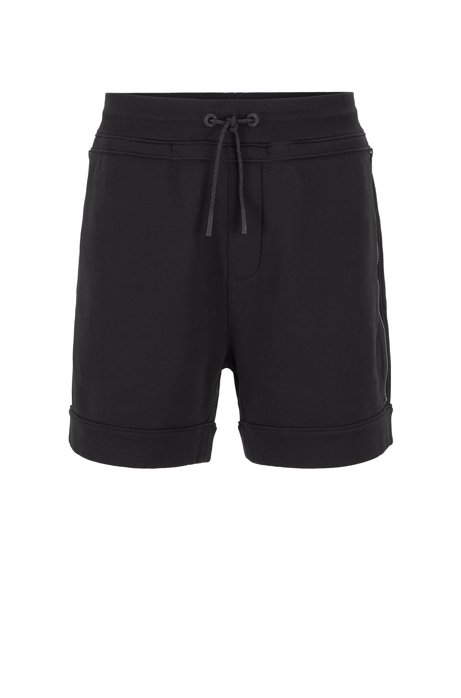 Relaxed-fit shorts in French terry with zipped pockets, Black