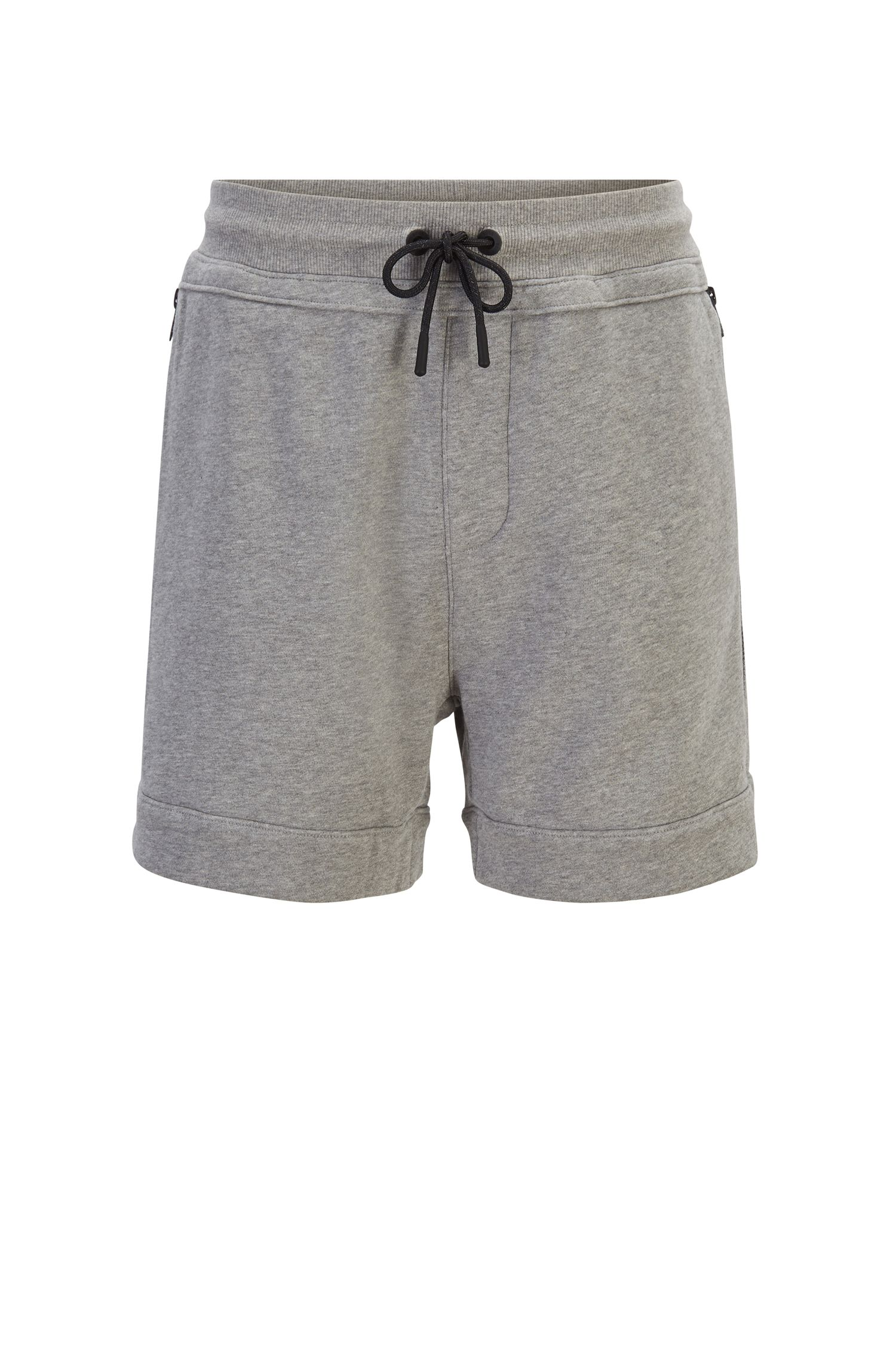 Short Relaxed Fit en molleton avec poches zippées, Gris chiné