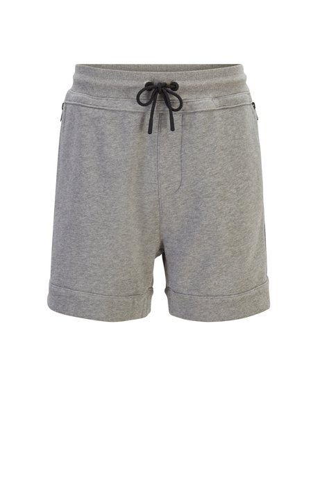 Relaxed-fit shorts in French terry with zipped pockets, Light Grey