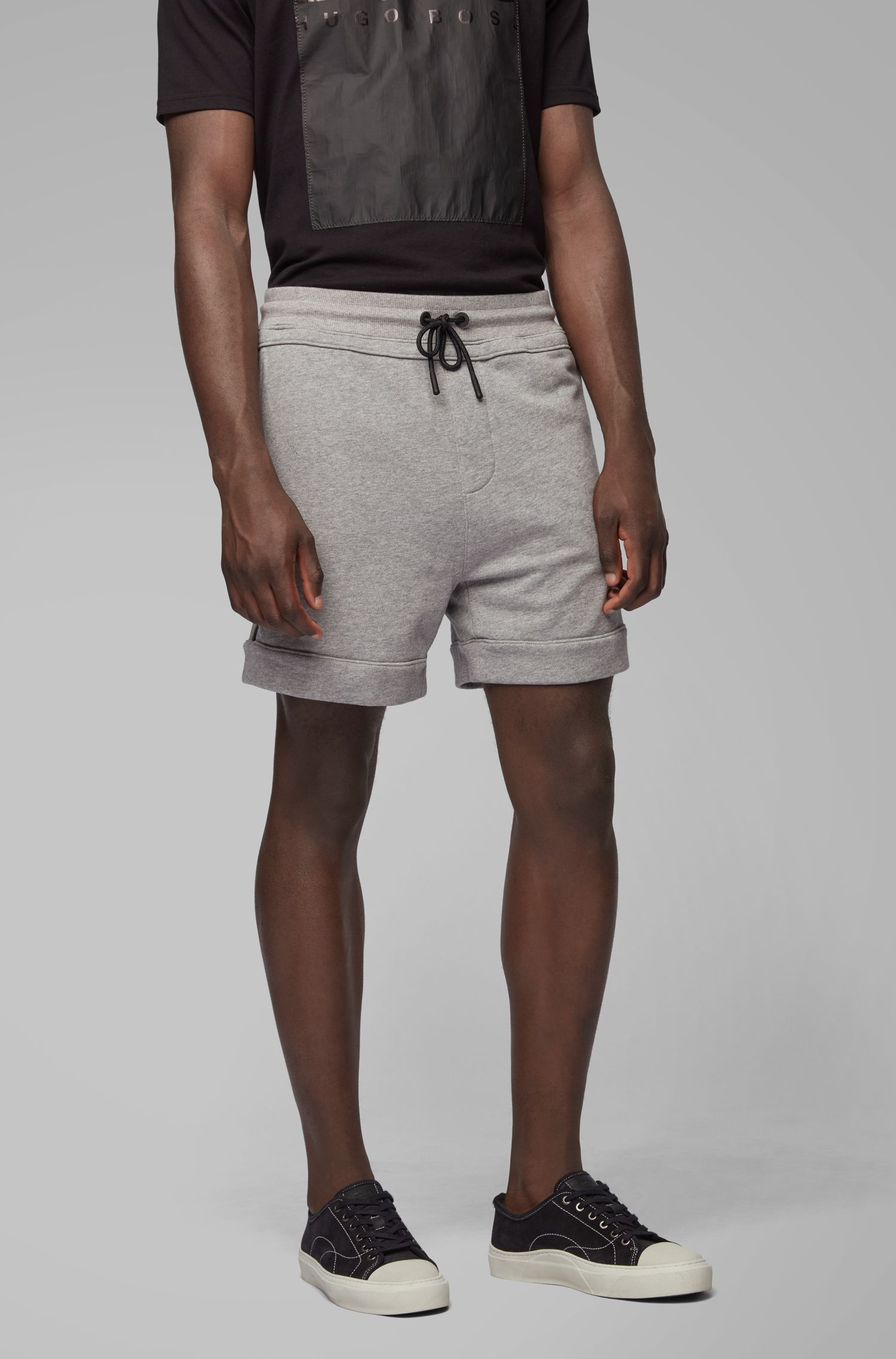 Shorts relaxed fit in french terry con tasche con zip, Grigio chiaro
