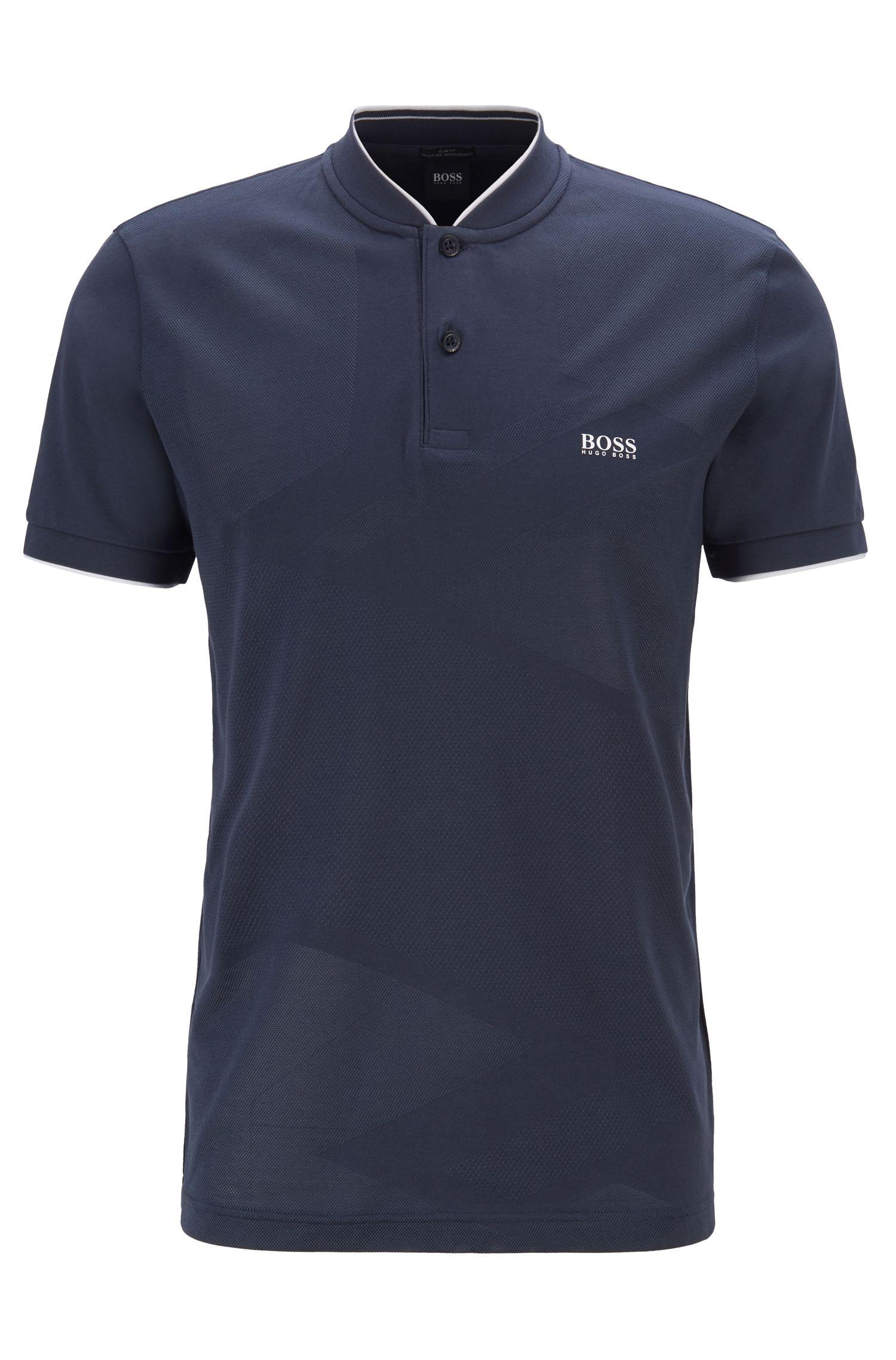 Slim-Fit Poloshirt aus fein strukturiertem Jacquard mit S.Café®-Fasern, Dunkelblau