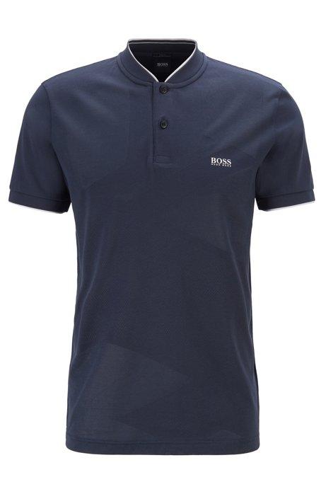 Polo Slim Fit en jacquard avec micromotif et fibres S.Café®, Bleu foncé