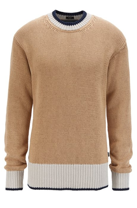 Colour-block hem sweater in mercerised cotton, Beige