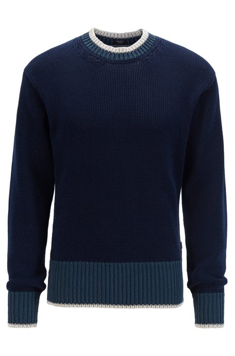Colour-block hem sweater in mercerised cotton, Dark Blue