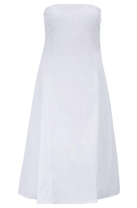 Vestido maxi de tirantes en tejido doble italiano, Blanco