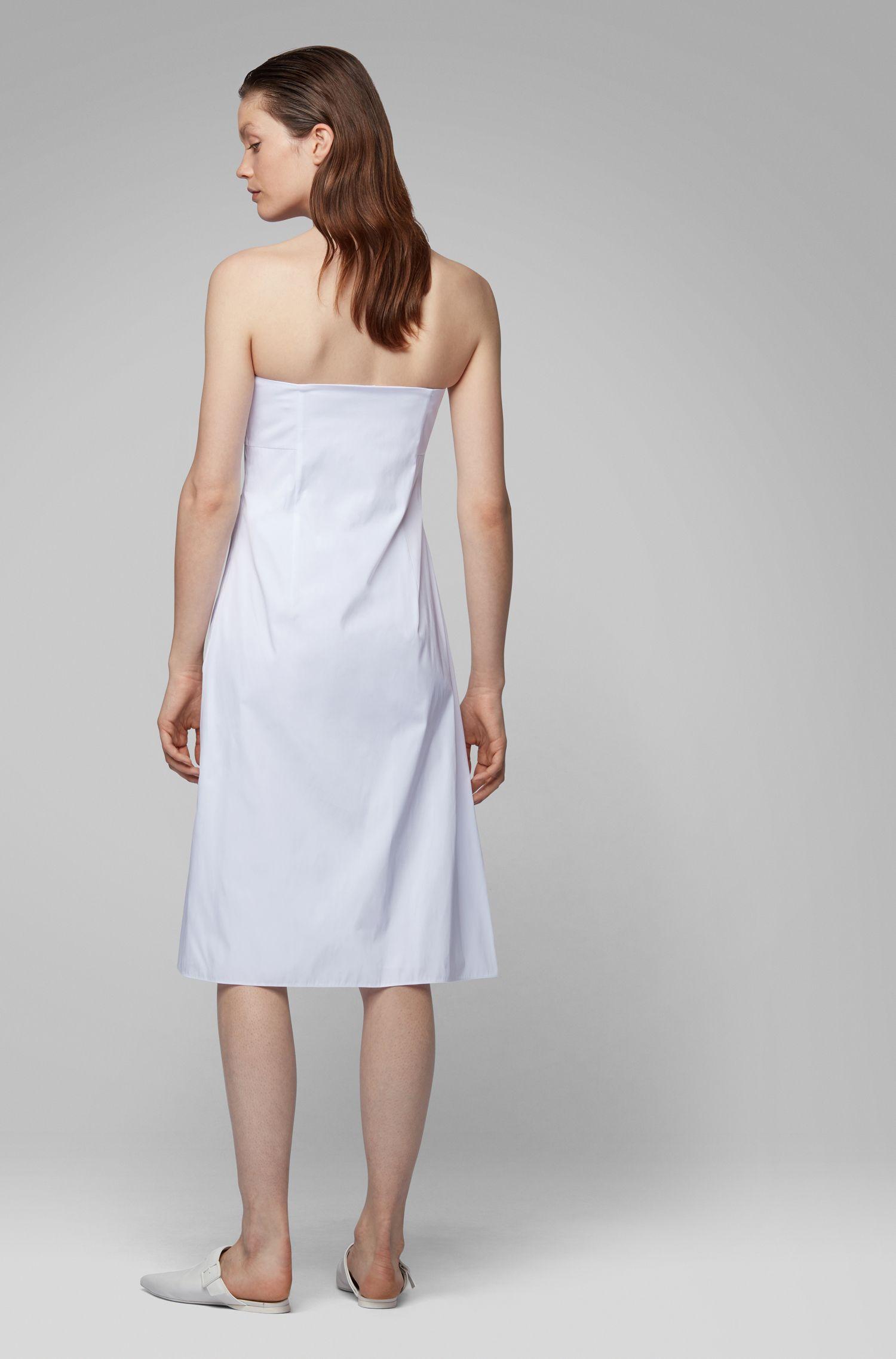 Maxi vestito con spalline in tessuto italiano a doppia lavorazione, Bianco