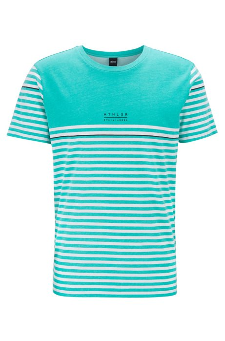 Cotton T-shirt with striped artwork, Light Green