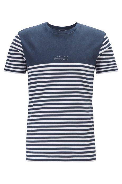 T-shirt en coton à motif artistique à rayures, Bleu foncé