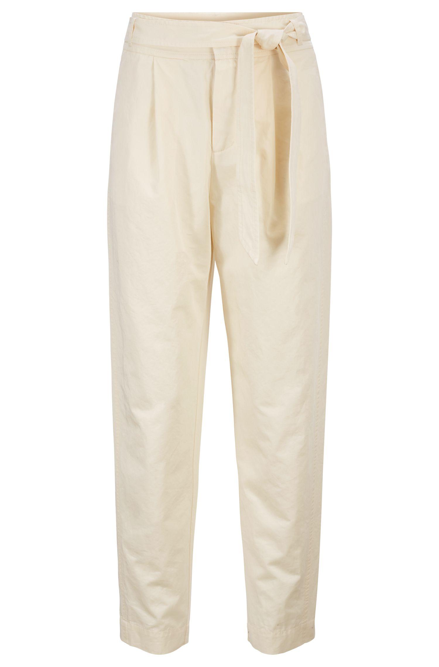 Pantalon court en coton et lin, avec ceinture à la taille, Chair